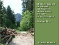 Johannes 14,6 Ich bin der Weg und die Wahrheit und das Leben; niemand kommt zum Vater als nur durch mich!