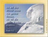Psalm 9,2 Ich will den HERRN loben von ganzem Herzen, ich will alle deine Wunder erzählen.