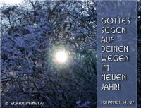 Gottes Segen auf deinen Wegen im neuen Jahr! Johannes 14,27 Frieden hinterlasse ich euch; meinen Frieden gebe ich euch. Nicht wie die Welt gibt, gebe ich euch; euer Herz erschrecke nicht und verzage nicht!