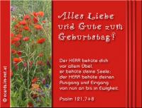 Alles Liebe und Gute zum Geburtstag! Psalm 121,7+8 Der HERR behüte dich vor allem Übel, er behüte deine Seele; der HERR behüte deinen Ausgang und Eingang von nun an bis in Ewigkeit.