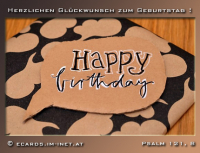 Herzlichen Glückwunsch zum Geburtstag.  Psalm 121,8 Der HERR behüte deinen Ausgang und Eingang von nun an bis in Ewigkeit.