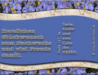 Herzlichen Glückwunsch zum Nachwuchs und viel Freude damit. Psalm 127,3a Siehe, Kinder sind eine Gabe des HERRN.