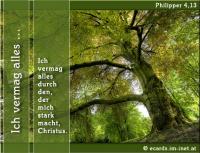 Philipper 4,13 Ich vermag alles durch den, der mich stark macht, Christus.