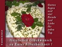 Herzlichen Glückwunsch zu eurer Silberhochzeit! Gottes Segen und viel Freude und Liebe für jeden Tag.