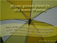 Einen guten Start in die neue Woche! Psalm 91,1 Wer unter dem Schirm des Höchsten sitzt, der bleibt unter dem Schatten des Allmächtigen.