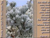 Freude und Kraft für den neuen Tag Psalm 27, 1 Der HERR ist mein Licht und mein Heil, vor wem sollte ich mich fürchten? Der HERR ist meines Lebens Kraft, vor wem sollte mir grauen?